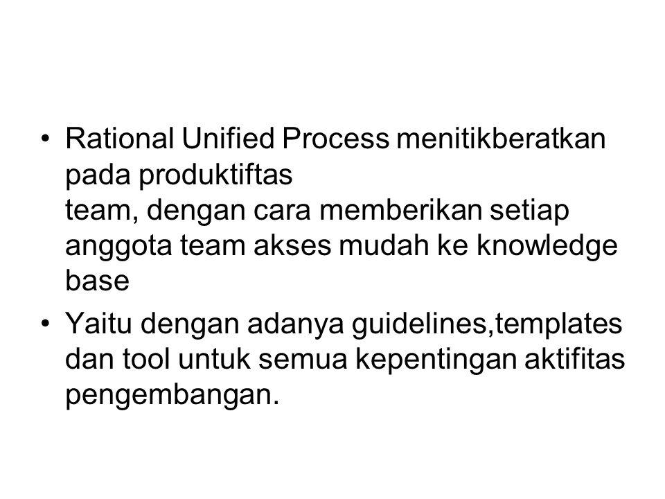 Rational Unified Process menitikberatkan pada produktiftas team, dengan cara memberikan setiap anggota team akses mudah ke knowledge base Yaitu dengan adanya guidelines,templates dan tool untuk semua kepentingan aktifitas pengembangan.