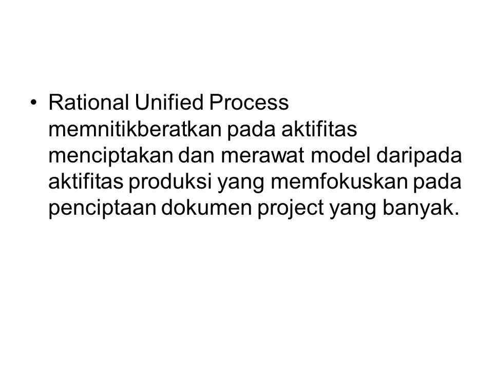 Rational Unified Process memnitikberatkan pada aktifitas menciptakan dan merawat model daripada aktifitas produksi yang memfokuskan pada penciptaan dokumen project yang banyak.