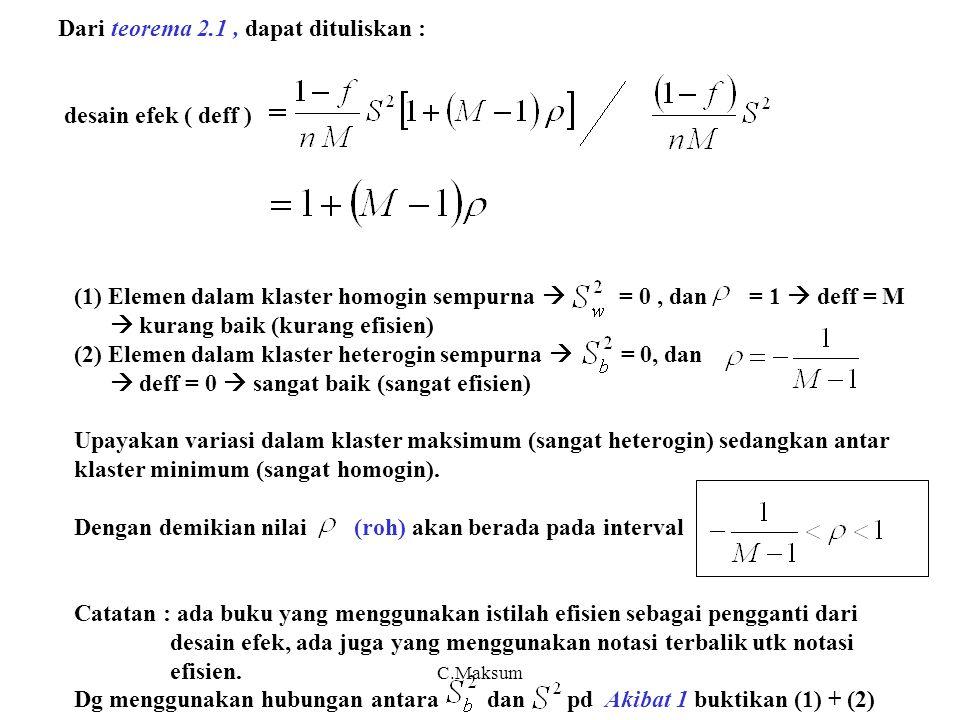 C.Maksum Dari teorema 2.1, dapat dituliskan : desain efek ( deff ) (1) Elemen dalam klaster homogin sempurna  = 0, dan = 1  deff = M  kurang baik (kurang efisien) (2) Elemen dalam klaster heterogin sempurna  = 0, dan  deff = 0  sangat baik (sangat efisien) Upayakan variasi dalam klaster maksimum (sangat heterogin) sedangkan antar klaster minimum (sangat homogin).
