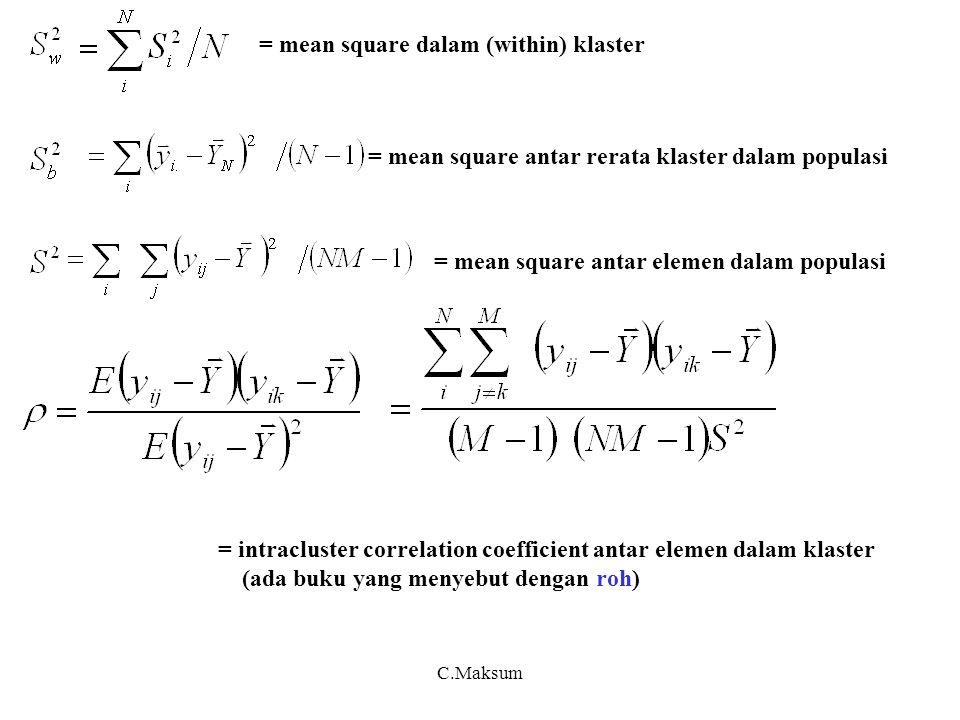 C.Maksum Tabel 2.2 : Analisis varian utk populasi Antar (between) rerata klaster Dalam (within) klaster Antar elemen ( Total ) dofMean Square Sumber variasi Buktikan 3 :