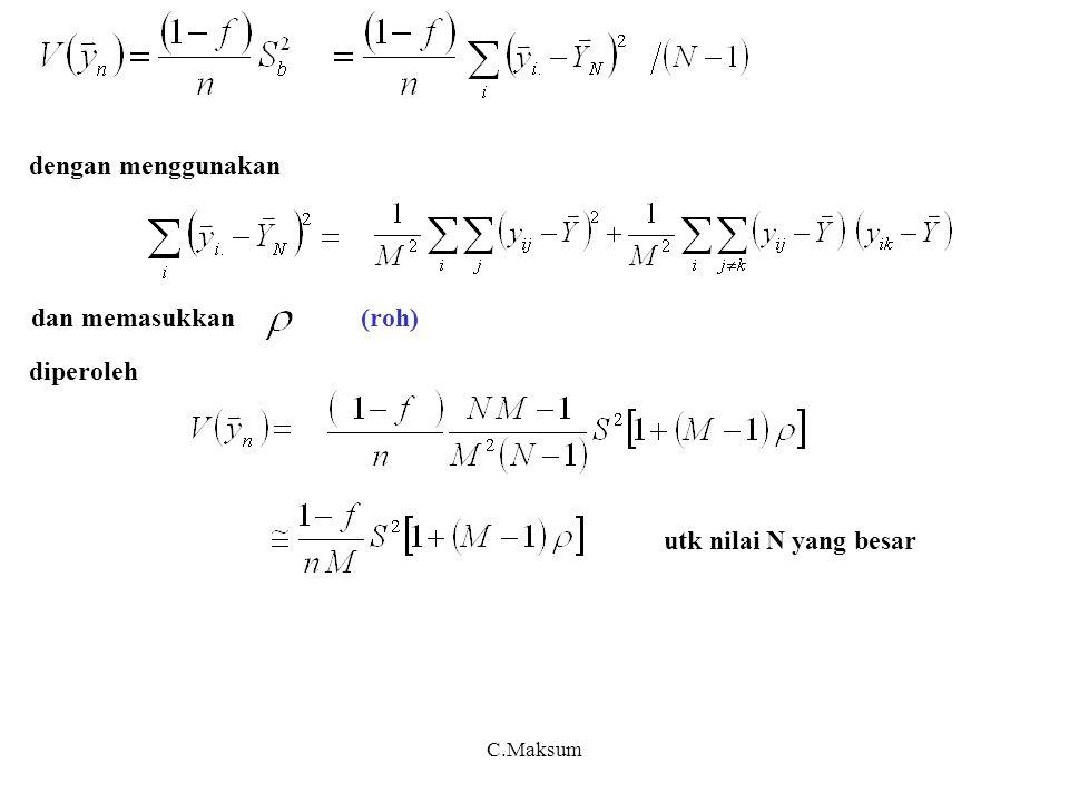 C.Maksum Akibat (Corollary) 1 Populasi klaster dengan jumlah unit masing-masing, diambil klaster secara SRSWOR, maka penduga total populasi yang tidak bias adalah : dengan varian Akibat (Corollary) 2 Akibat (Corollary) 3 Populasi elemen diambil sampel sebanyak secara SRSWOR, varian utk rerata elemen menjadi : Penduga varian dari teorema 2.1