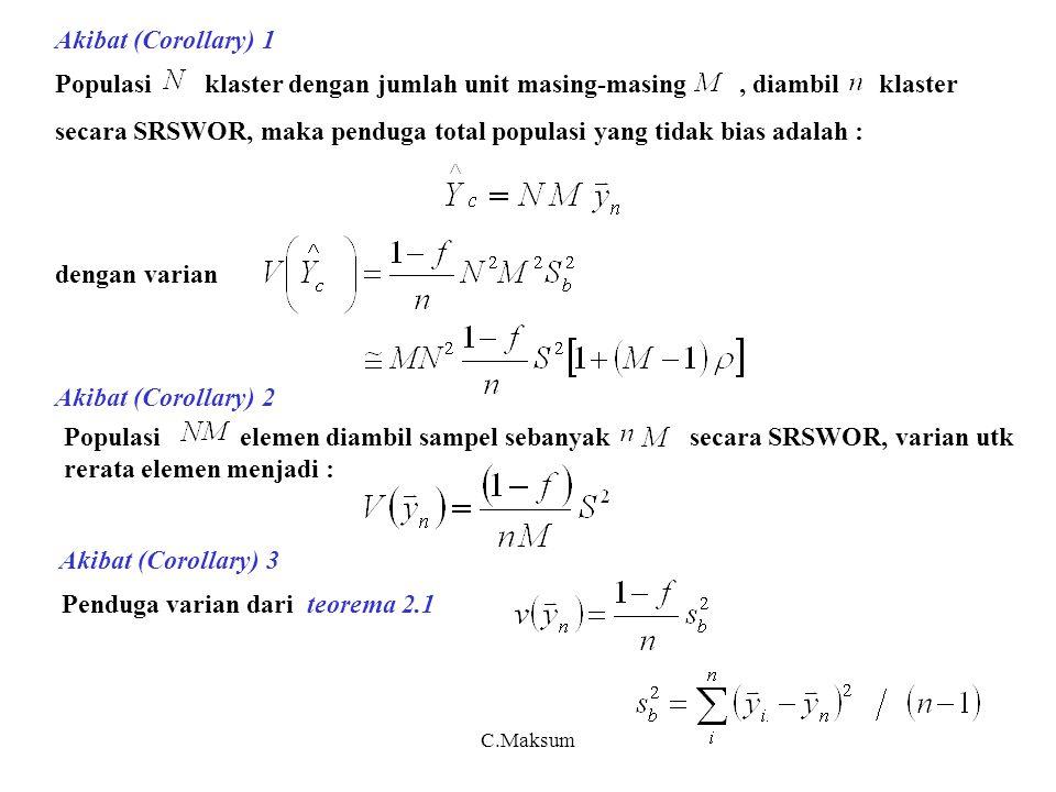 C.Maksum Akibat (Corollary) 4 Populasi klaster dengan jumlah unit masing-masing,diambil klaster secara SRSWR, maka merupakan penduga yang tidak bias dari, dengan varian dan penduganya c) Desain efek dan efisiensi klaster sampling NM elemen nM elemen SRS Desain efek klaster klaster SRS