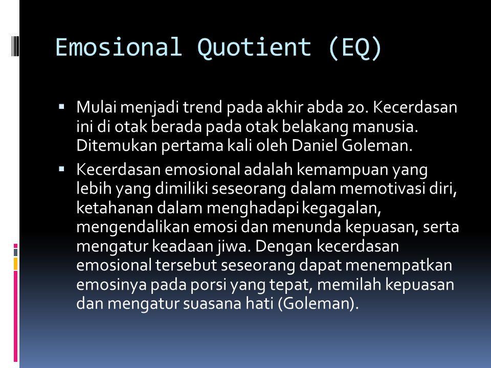 Emosional Quotient (EQ)  Mulai menjadi trend pada akhir abda 20.