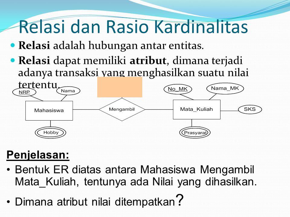 Relasi dan Rasio Kardinalitas Relasi adalah hubungan antar entitas.