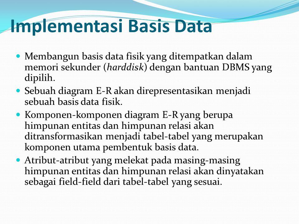 Implementasi Basis Data Membangun basis data fisik yang ditempatkan dalam memori sekunder (harddisk) dengan bantuan DBMS yang dipilih. Sebuah diagram