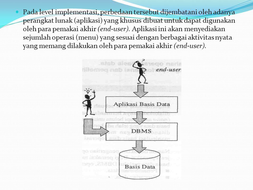 Pada level implementasi, perbedaan tersebut dijembatani oleh adanya perangkat lunak (aplikasi) yang khusus dibuat untuk dapat digunakan oleh para pema