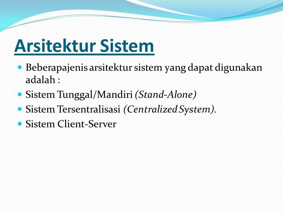 Arsitektur Sistem Beberapajenis arsitektur sistem yang dapat digunakan adalah : Sistem Tunggal/Mandiri (Stand-Alone) Sistem Tersentralisasi (Centraliz