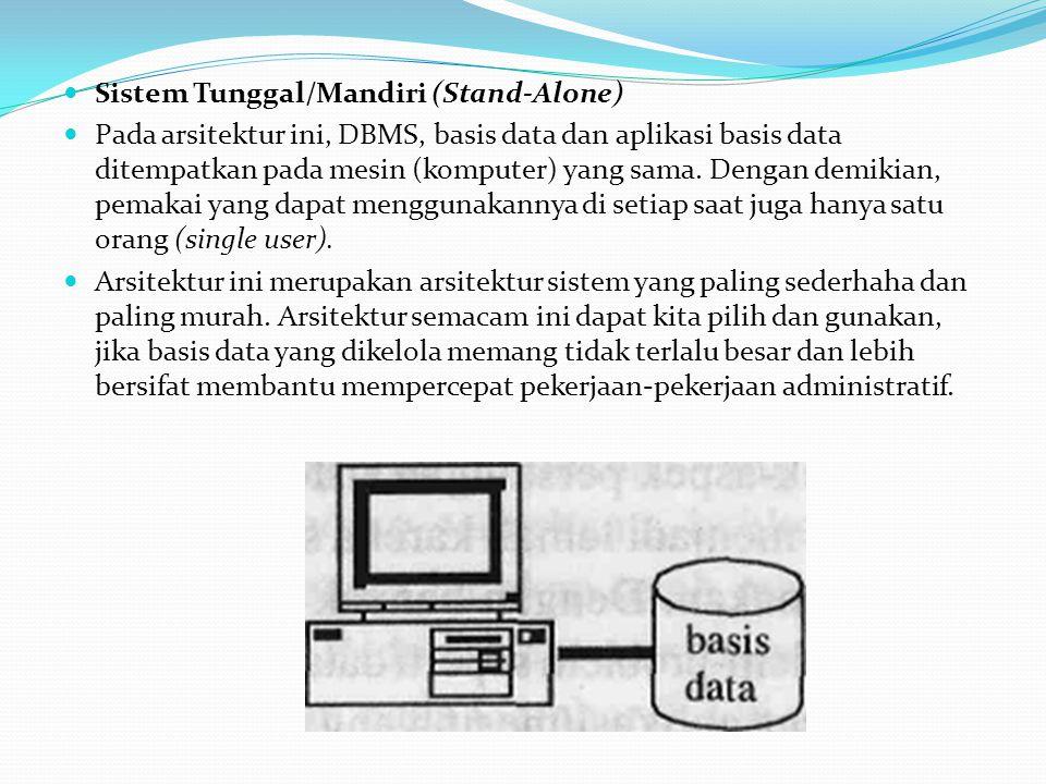 Sistem Tunggal/Mandiri (Stand-Alone) Pada arsitektur ini, DBMS, basis data dan aplikasi basis data ditempatkan pada mesin (komputer) yang sama. Dengan