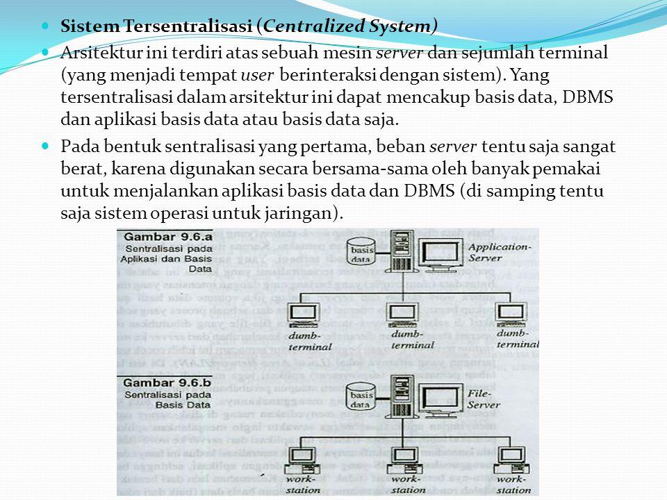 Sistem Tersentralisasi (Centralized System) Arsitektur ini terdiri atas sebuah mesin server dan sejumlah terminal (yang menjadi tempat user berinterak
