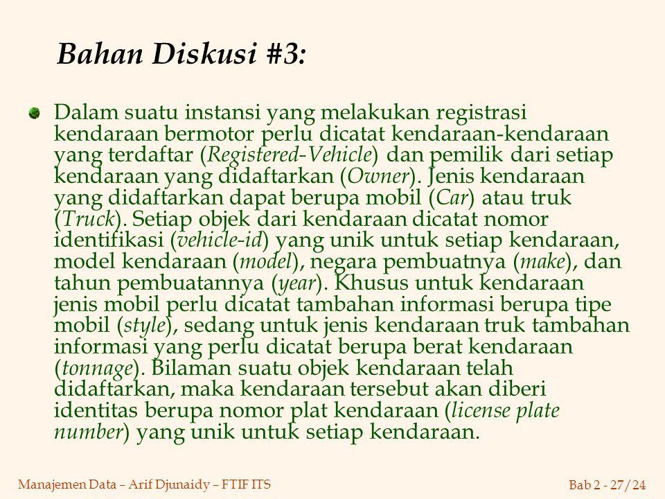 Bab 2 - 27/24 Manajemen Data – Arif Djunaidy – FTIF ITS Bahan Diskusi #3: Dalam suatu instansi yang melakukan registrasi kendaraan bermotor perlu dica