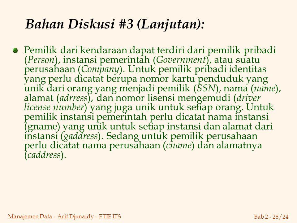 Bab 2 - 28/24 Manajemen Data – Arif Djunaidy – FTIF ITS Bahan Diskusi #3 (Lanjutan): Pemilik dari kendaraan dapat terdiri dari pemilik pribadi ( Perso