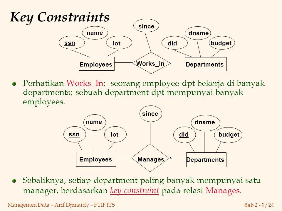 Bab 2 - 9/24 Manajemen Data – Arif Djunaidy – FTIF ITS Key Constraints Perhatikan Works_In: seorang employee dpt bekerja di banyak departments; sebuah