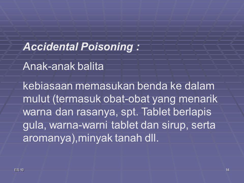 ER-1014 Accidental Poisoning : Anak-anak balita kebiasaan memasukan benda ke dalam mulut (termasuk obat-obat yang menarik warna dan rasanya, spt.