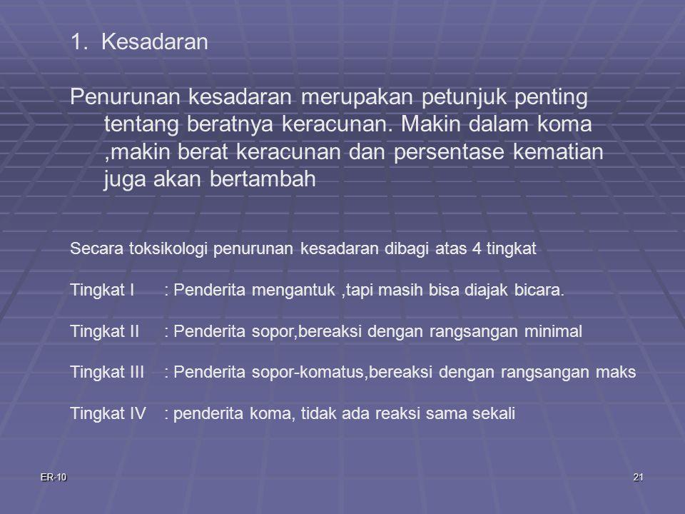 ER-1021 1.Kesadaran Penurunan kesadaran merupakan petunjuk penting tentang beratnya keracunan.