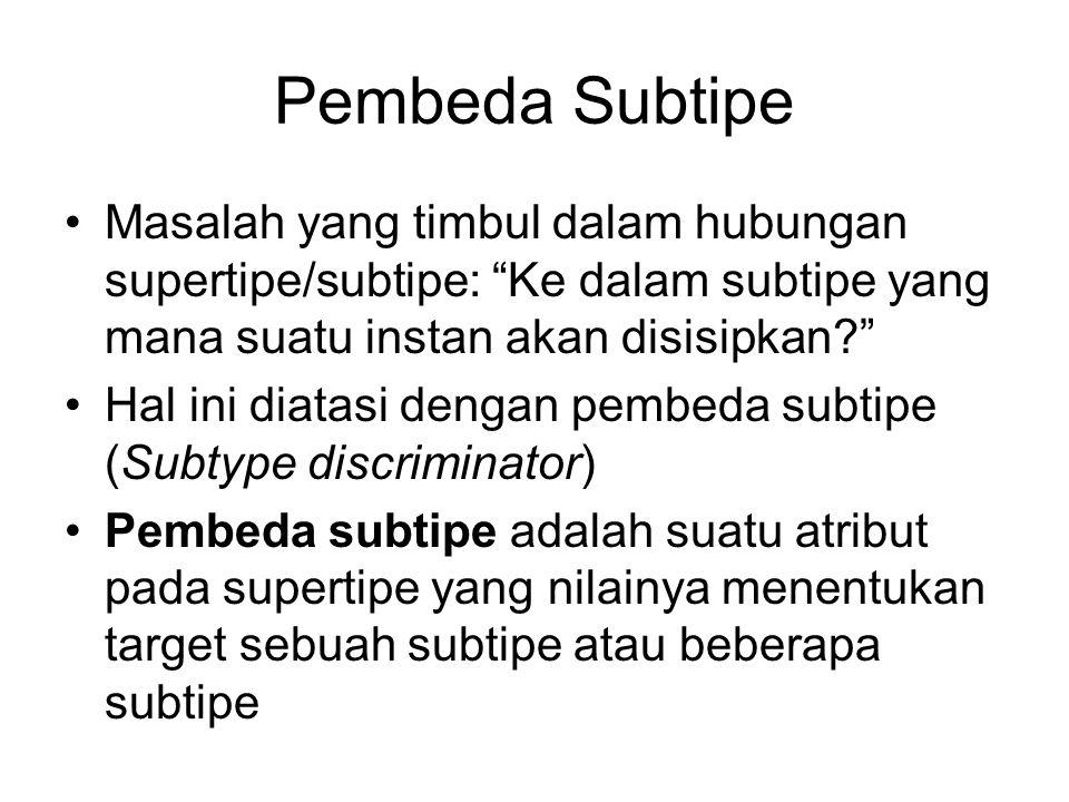 """Pembeda Subtipe Masalah yang timbul dalam hubungan supertipe/subtipe: """"Ke dalam subtipe yang mana suatu instan akan disisipkan?"""" Hal ini diatasi denga"""