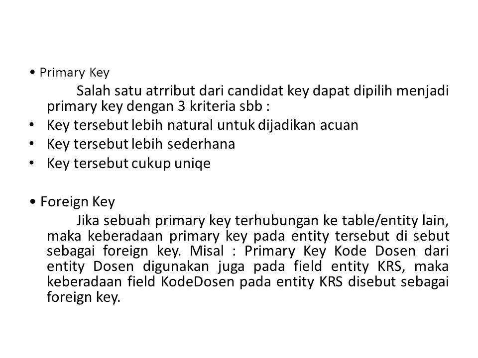 Primary Key Salah satu atrribut dari candidat key dapat dipilih menjadi primary key dengan 3 kriteria sbb : Key tersebut lebih natural untuk dijadikan