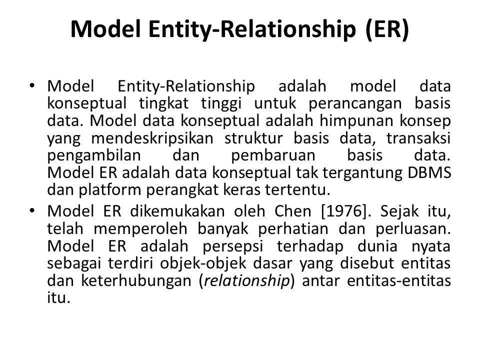 Model Entity-Relationship (ER) Model Entity-Relationship adalah model data konseptual tingkat tinggi untuk perancangan basis data. Model data konseptu