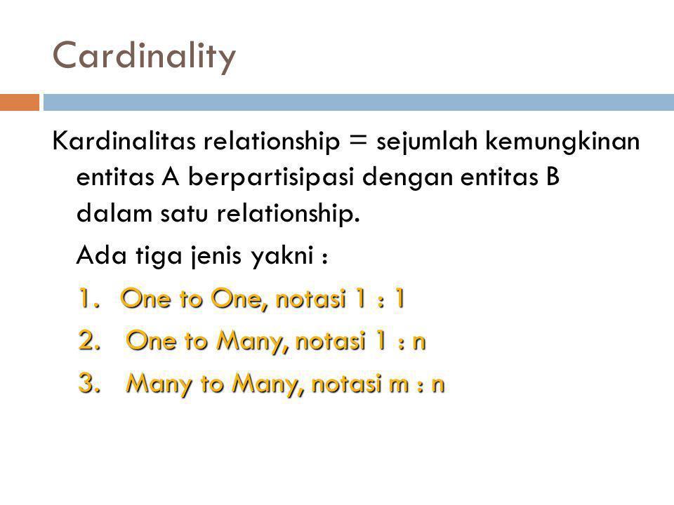 Cardinality Kardinalitas relationship = sejumlah kemungkinan entitas A berpartisipasi dengan entitas B dalam satu relationship. Ada tiga jenis yakni :