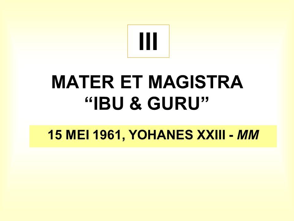 "MATER ET MAGISTRA ""IBU & GURU"" 15 MEI 1961, YOHANES XXIII - MM III"
