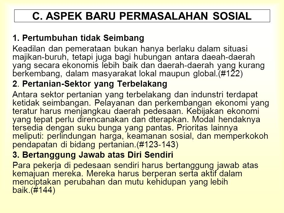 C.ASPEK BARU PERMASALAHAN SOSIAL 1.