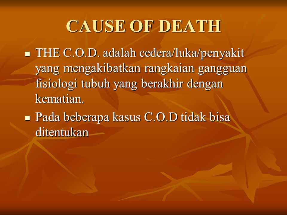 CAUSE OF DEATH THE C.O.D.