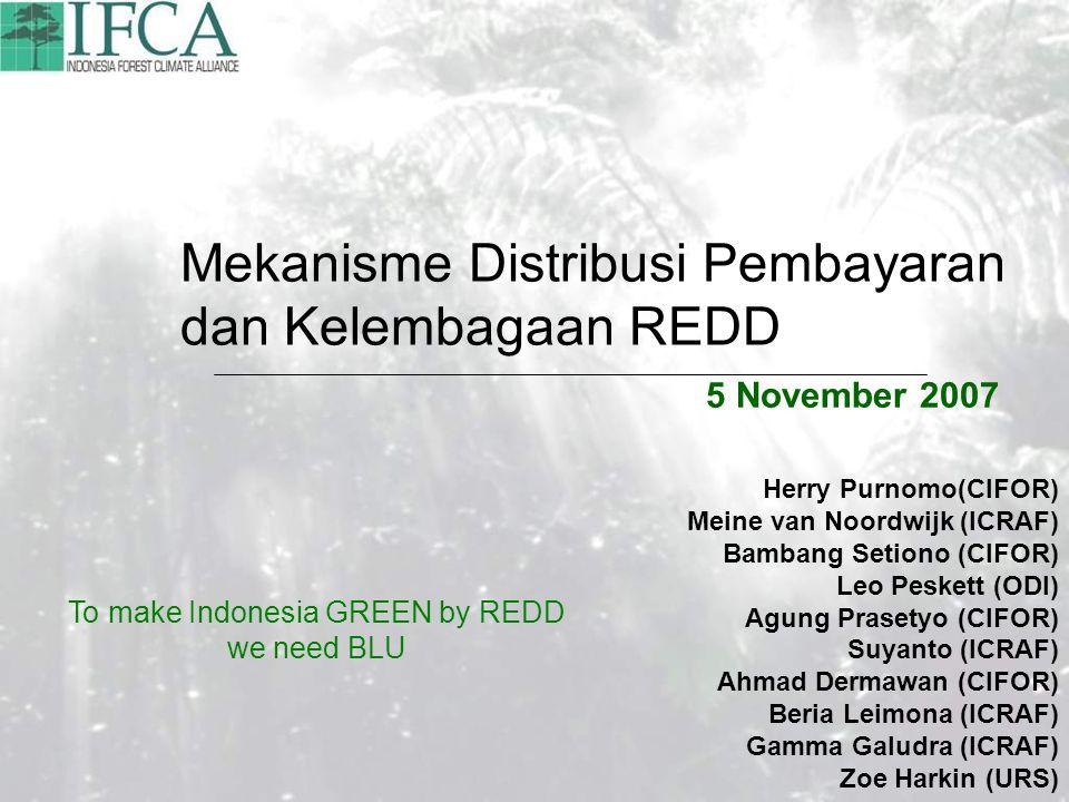 Mekanisme Distribusi Pembayaran dan Kelembagaan REDD 5 November 2007 Herry Purnomo(CIFOR) Meine van Noordwijk (ICRAF) Bambang Setiono (CIFOR) Leo Peskett (ODI) Agung Prasetyo (CIFOR) Suyanto (ICRAF) Ahmad Dermawan (CIFOR) Beria Leimona (ICRAF) Gamma Galudra (ICRAF) Zoe Harkin (URS) To make Indonesia GREEN by REDD we need BLU