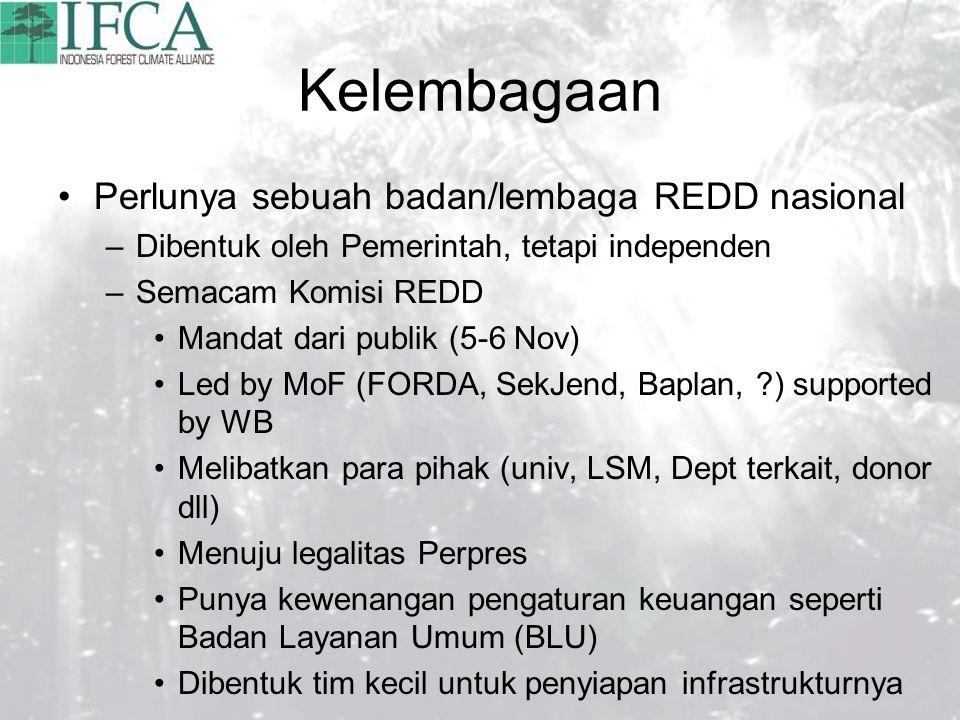 Kelembagaan Perlunya sebuah badan/lembaga REDD nasional –Dibentuk oleh Pemerintah, tetapi independen –Semacam Komisi REDD Mandat dari publik (5-6 Nov) Led by MoF (FORDA, SekJend, Baplan, ) supported by WB Melibatkan para pihak (univ, LSM, Dept terkait, donor dll) Menuju legalitas Perpres Punya kewenangan pengaturan keuangan seperti Badan Layanan Umum (BLU) Dibentuk tim kecil untuk penyiapan infrastrukturnya