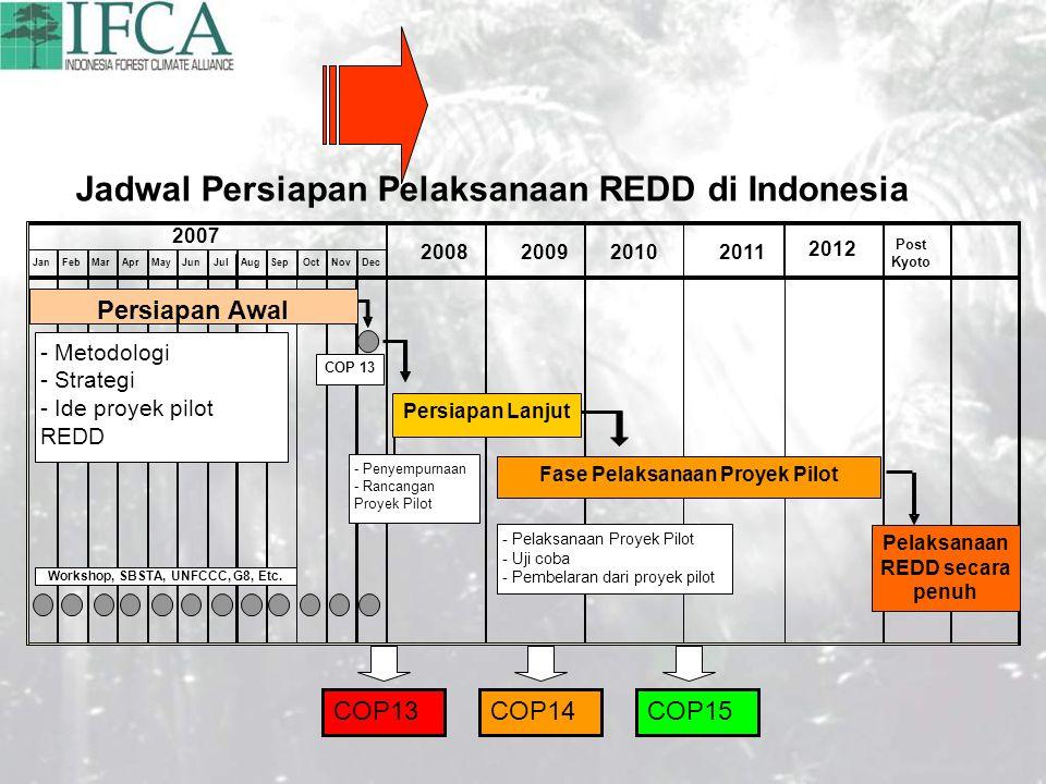 JanFebMarAprMayJunJulAugSepOctNovDec 2007 2008200920102011 2012 Post Kyoto Jadwal Persiapan Pelaksanaan REDD di Indonesia COP 13 Persiapan Awal Persiapan Lanjut - Penyempurnaan - Rancangan Proyek Pilot - Metodologi - Strategi - Ide proyek pilot REDD Fase Pelaksanaan Proyek Pilot - Pelaksanaan Proyek Pilot - Uji coba - Pembelaran dari proyek pilot Pelaksanaan REDD secara penuh Workshop, SBSTA, UNFCCC, G8, Etc.