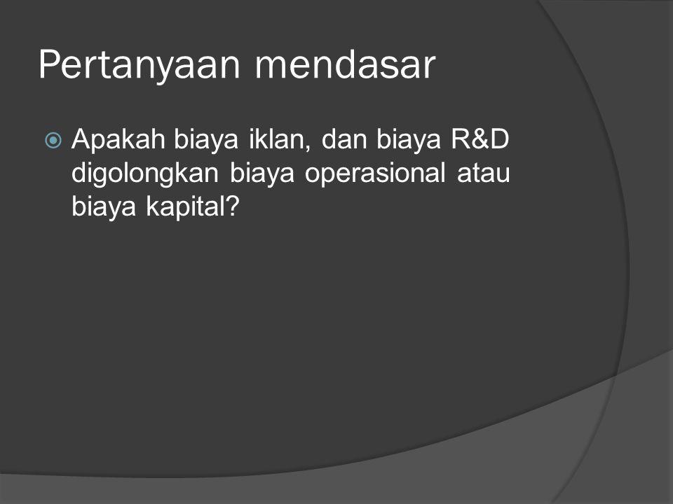 Pertanyaan mendasar  Apakah biaya iklan, dan biaya R&D digolongkan biaya operasional atau biaya kapital