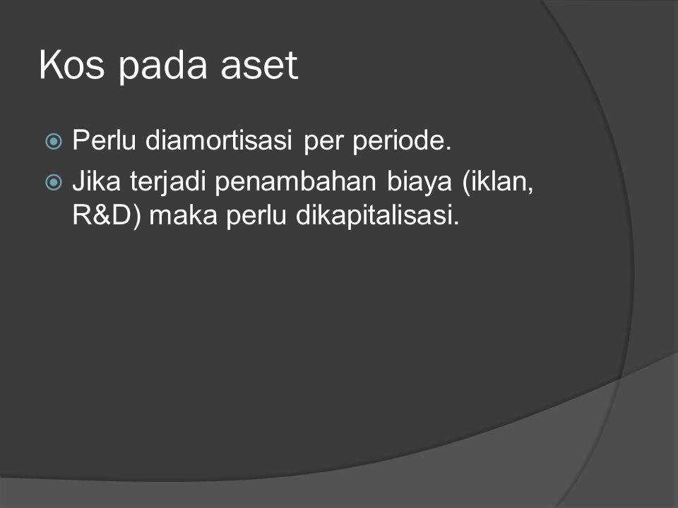 Kos pada aset  Perlu diamortisasi per periode.