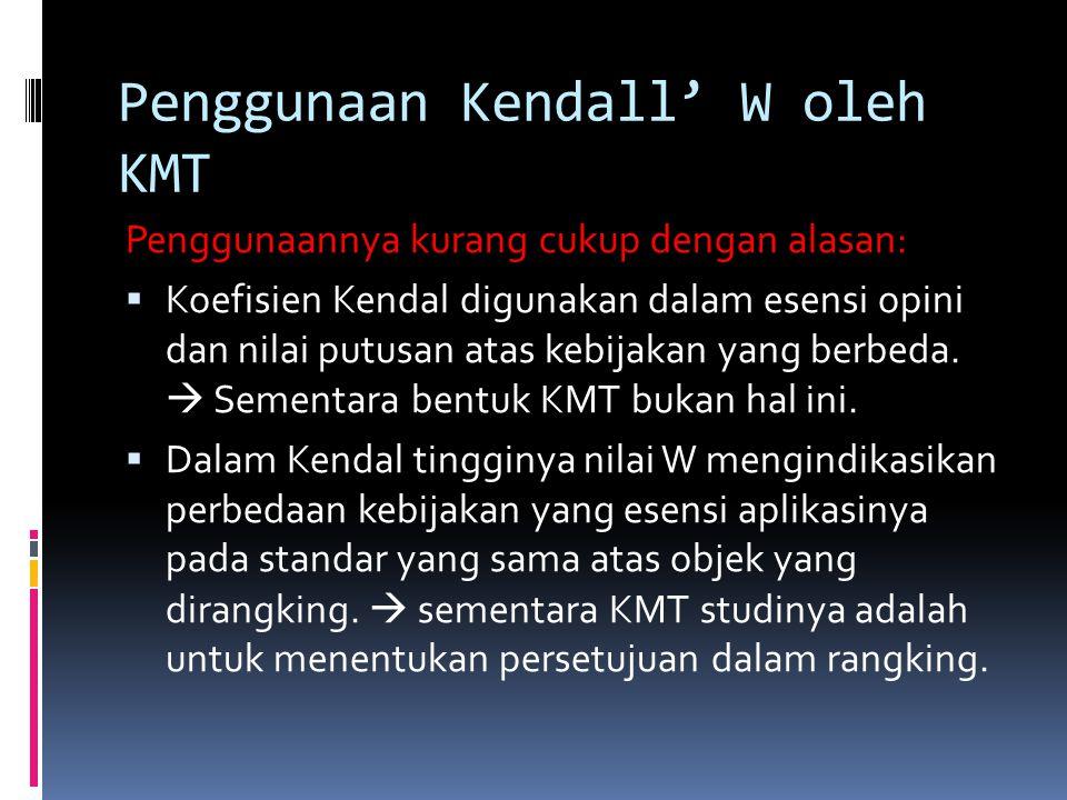 Penggunaan Kendall' W oleh KMT Penggunaannya kurang cukup dengan alasan:  Koefisien Kendal digunakan dalam esensi opini dan nilai putusan atas kebijakan yang berbeda.