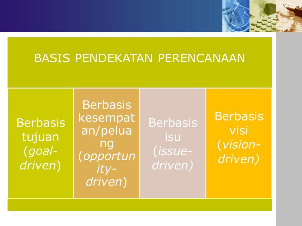 BASIS PENDEKATAN PERENCANAAN Berbasis tujuan (goal- driven) Berbasis kesempat an/pelua ng (opportun ity- driven) Berbasis isu (issue- driven) Berbasis