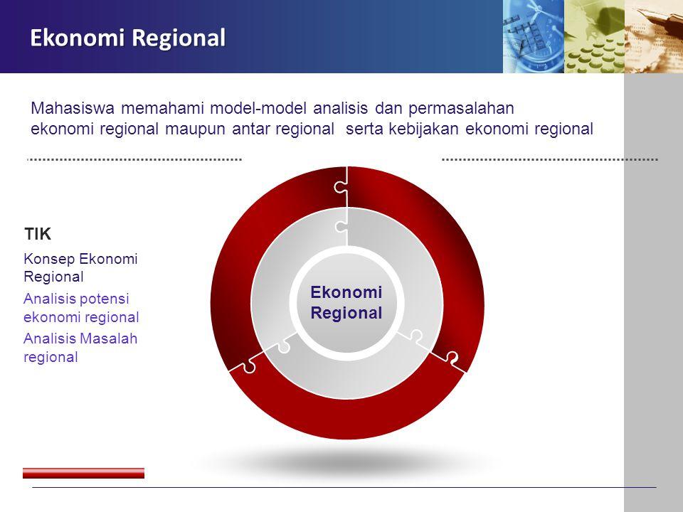 Ekonomi Regional TIK Konsep Ekonomi Regional Analisis potensi ekonomi regional Analisis Masalah regional Ekonomi Regional Mahasiswa memahami model-mod