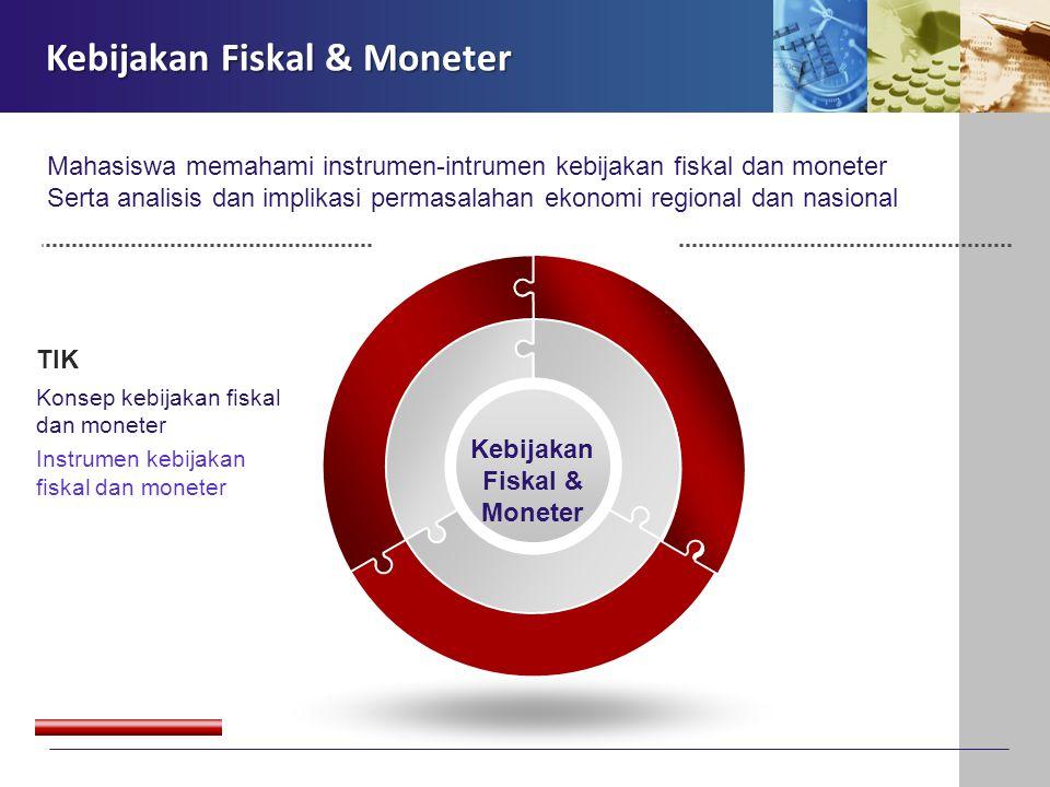 Kebijakan Fiskal & Moneter TIK Konsep kebijakan fiskal dan moneter Instrumen kebijakan fiskal dan moneter Kebijakan Fiskal & Moneter Mahasiswa memaham