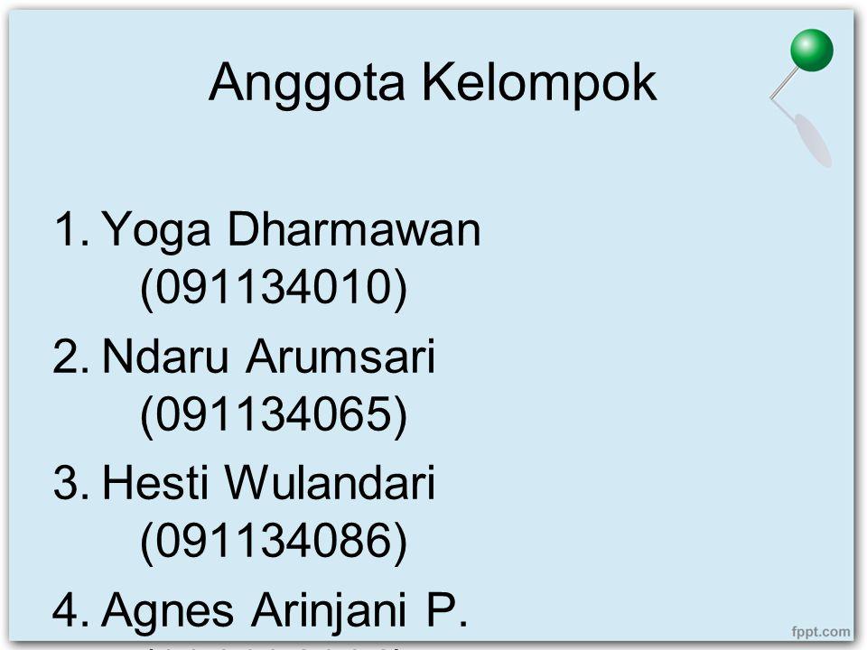 Anggota Kelompok 1.Yoga Dharmawan (091134010) 2.Ndaru Arumsari (091134065) 3.Hesti Wulandari (091134086) 4.Agnes Arinjani P. (091134114)