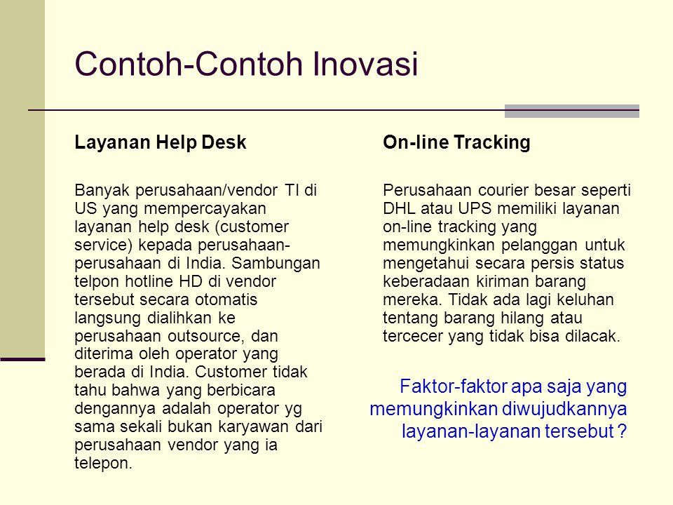 Contoh-Contoh Inovasi Layanan Help Desk Banyak perusahaan/vendor TI di US yang mempercayakan layanan help desk (customer service) kepada perusahaan- p
