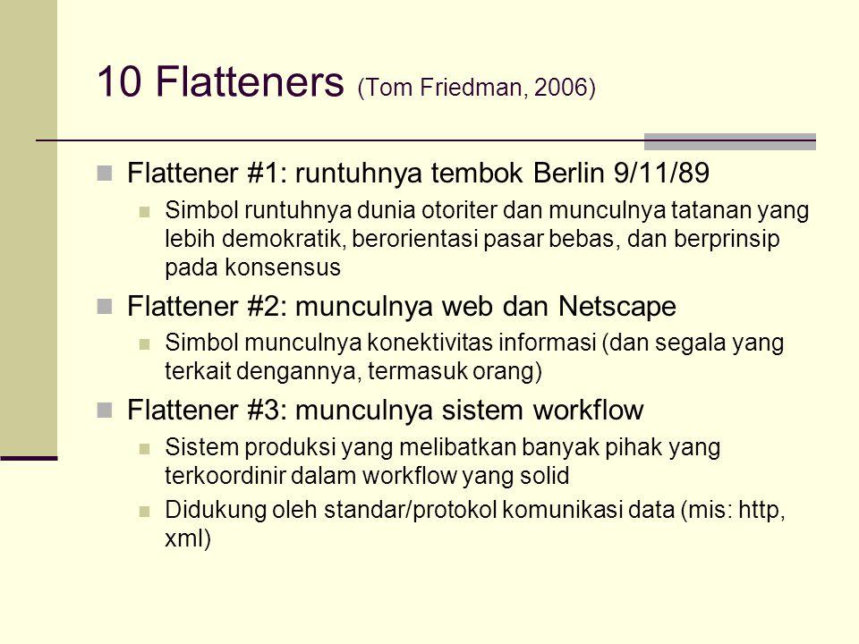 10 Flatteners (Tom Friedman, 2006) Flattener #1: runtuhnya tembok Berlin 9/11/89 Simbol runtuhnya dunia otoriter dan munculnya tatanan yang lebih demo
