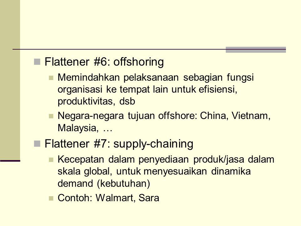 Flattener #6: offshoring Memindahkan pelaksanaan sebagian fungsi organisasi ke tempat lain untuk efisiensi, produktivitas, dsb Negara-negara tujuan of
