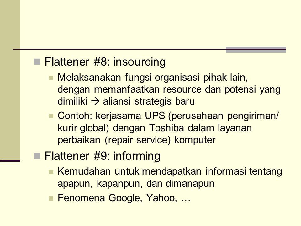 Flattener #8: insourcing Melaksanakan fungsi organisasi pihak lain, dengan memanfaatkan resource dan potensi yang dimiliki  aliansi strategis baru Co