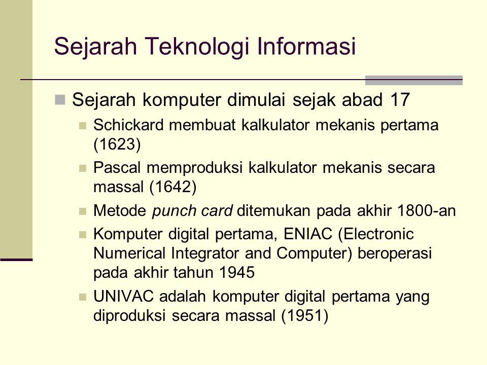Sejarah Teknologi Informasi Sejarah komputer dimulai sejak abad 17 Schickard membuat kalkulator mekanis pertama (1623) Pascal memproduksi kalkulator m