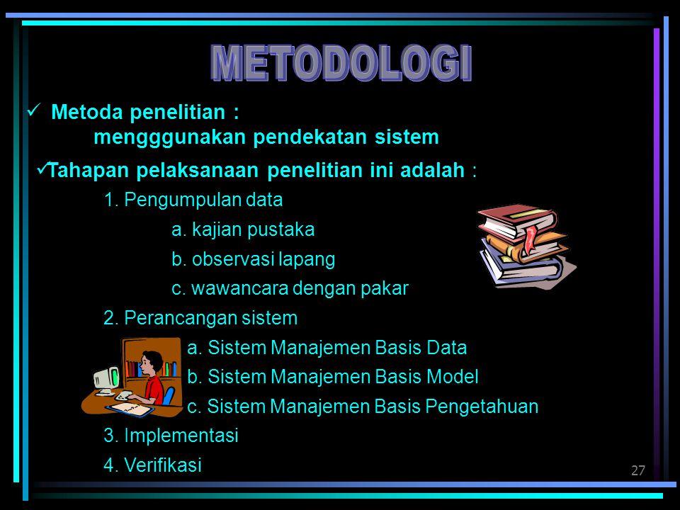 27 Metoda penelitian : mengggunakan pendekatan sistem Tahapan pelaksanaan penelitian ini adalah : 1. Pengumpulan data a. kajian pustaka b. observasi l