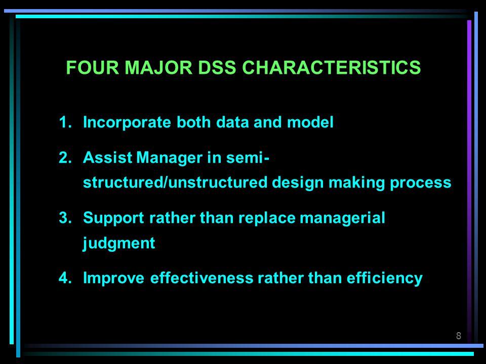 9 DSS STRUCTURE Data; External and Internal Data Based Management Dialog Management Model Based Management Other Computer- based Systems Manager (User) and Tasks