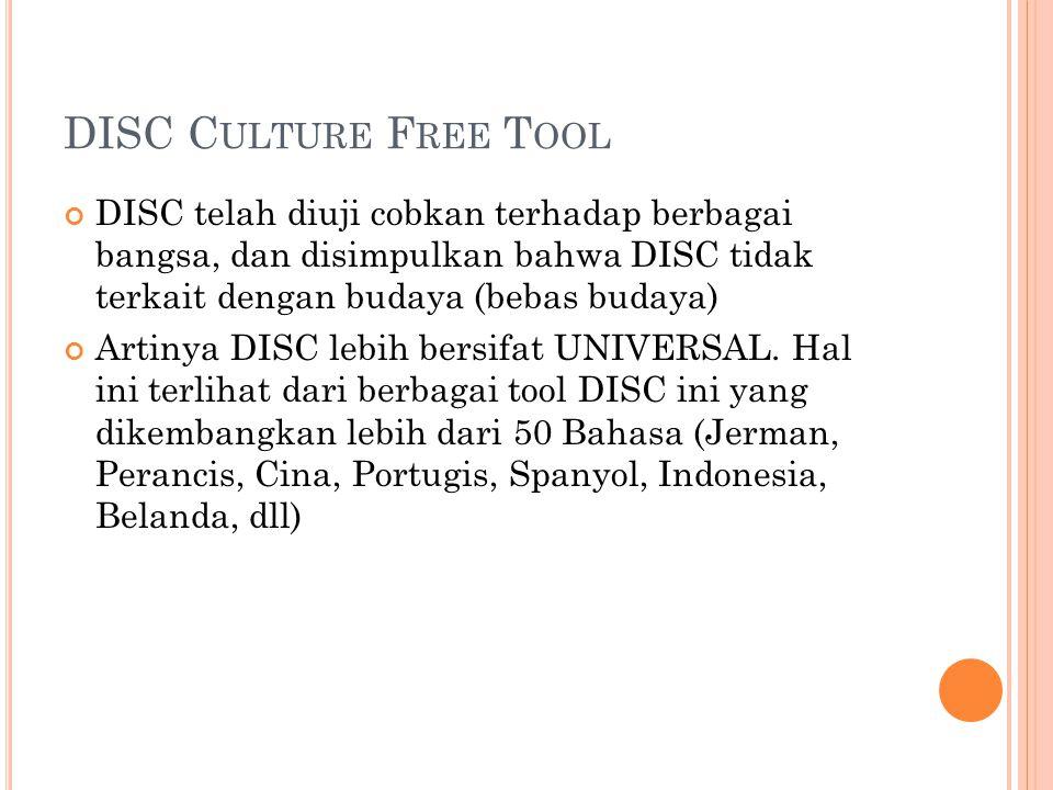 DISC C ULTURE F REE T OOL DISC telah diuji cobkan terhadap berbagai bangsa, dan disimpulkan bahwa DISC tidak terkait dengan budaya (bebas budaya) Arti