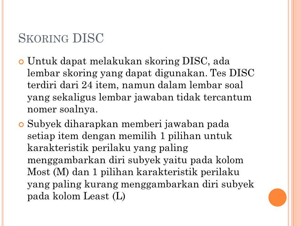 S KORING DISC Untuk dapat melakukan skoring DISC, ada lembar skoring yang dapat digunakan. Tes DISC terdiri dari 24 item, namun dalam lembar soal yang