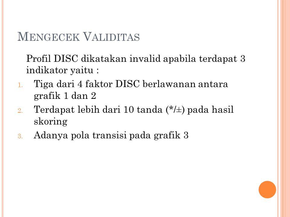 M ENGECEK V ALIDITAS Profil DISC dikatakan invalid apabila terdapat 3 indikator yaitu : 1. Tiga dari 4 faktor DISC berlawanan antara grafik 1 dan 2 2.