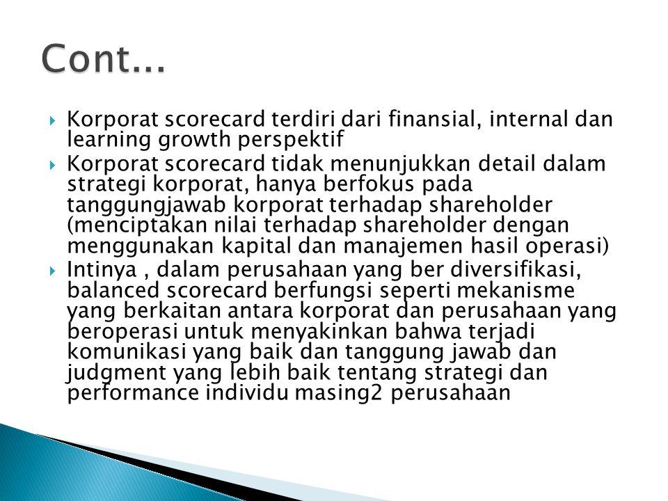  Korporat scorecard terdiri dari finansial, internal dan learning growth perspektif  Korporat scorecard tidak menunjukkan detail dalam strategi korp