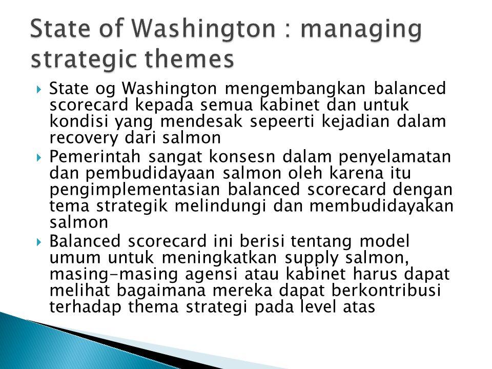  State og Washington mengembangkan balanced scorecard kepada semua kabinet dan untuk kondisi yang mendesak sepeerti kejadian dalam recovery dari salm