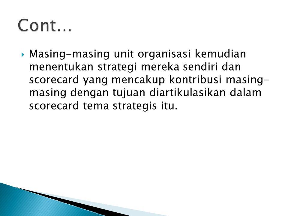  Masing-masing unit organisasi kemudian menentukan strategi mereka sendiri dan scorecard yang mencakup kontribusi masing- masing dengan tujuan diarti