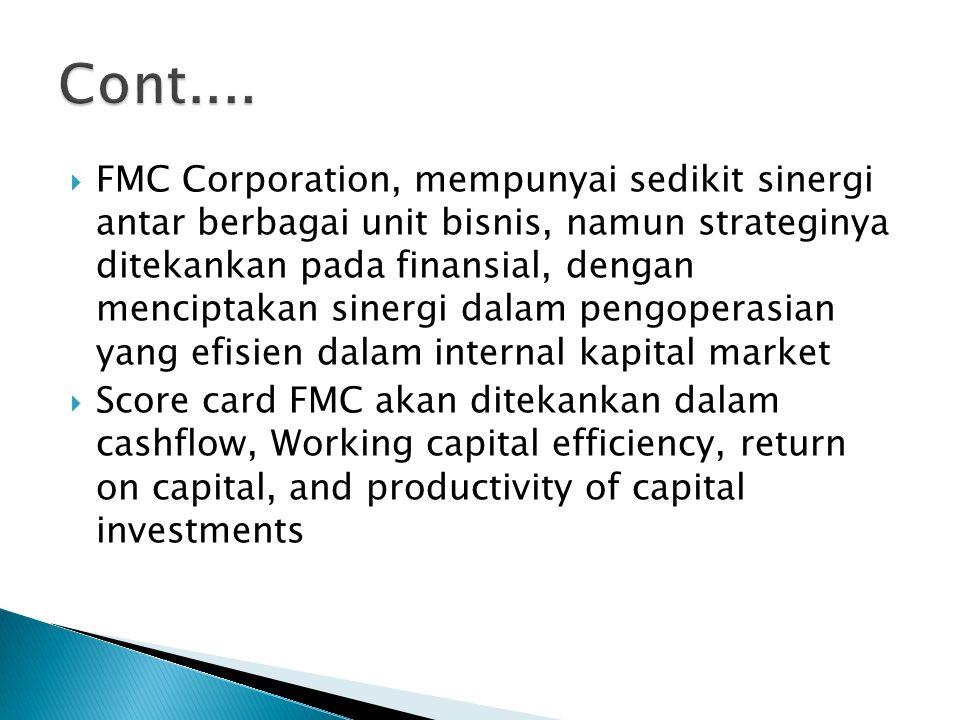  FMC Corporation, mempunyai sedikit sinergi antar berbagai unit bisnis, namun strateginya ditekankan pada finansial, dengan menciptakan sinergi dalam