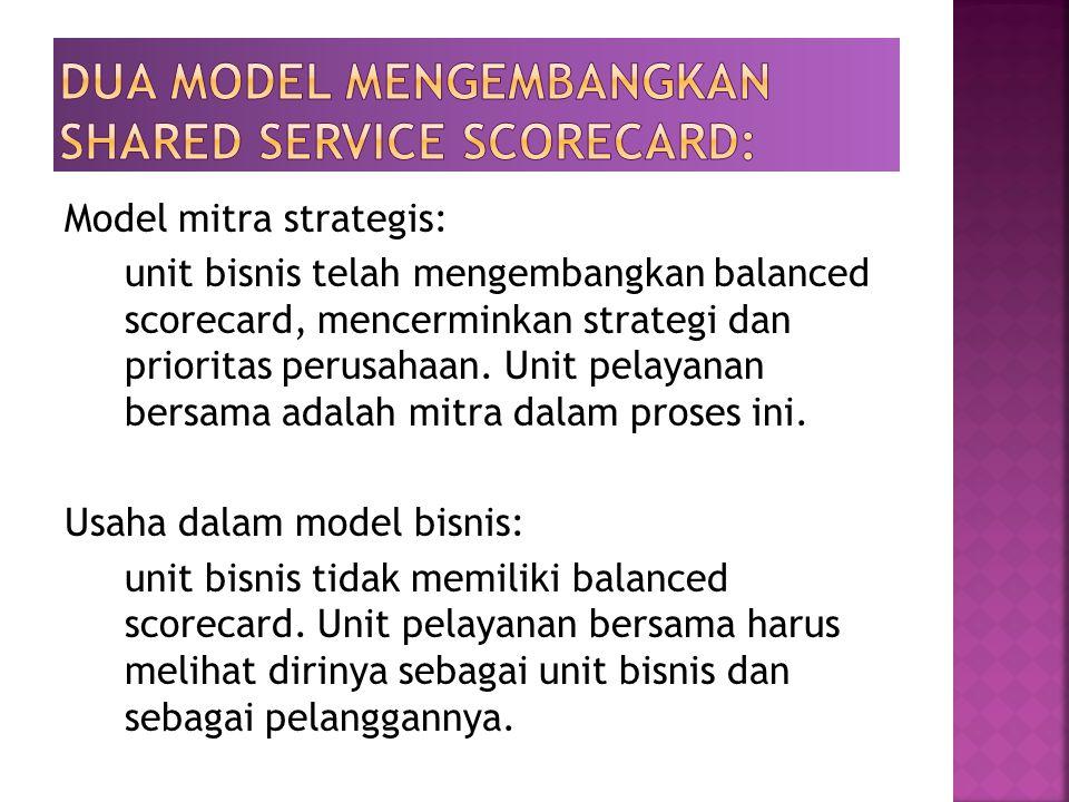 Model mitra strategis: unit bisnis telah mengembangkan balanced scorecard, mencerminkan strategi dan prioritas perusahaan. Unit pelayanan bersama adal